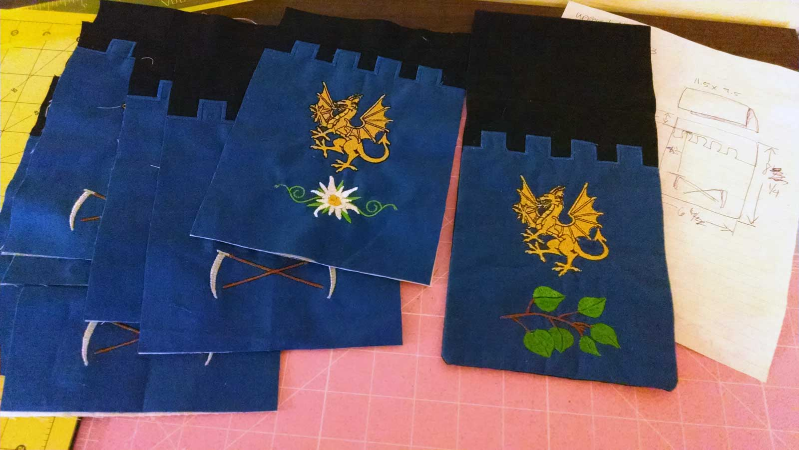 Imaged of completed embroidery favors