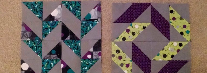 First two quilt blocks of the Layer Cake Sampler QAL