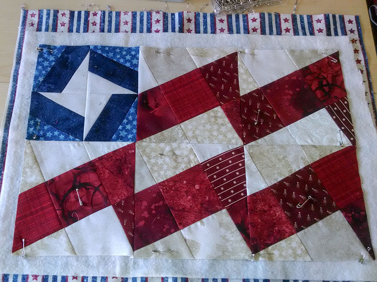 First Pieced Placemat with simple quilting